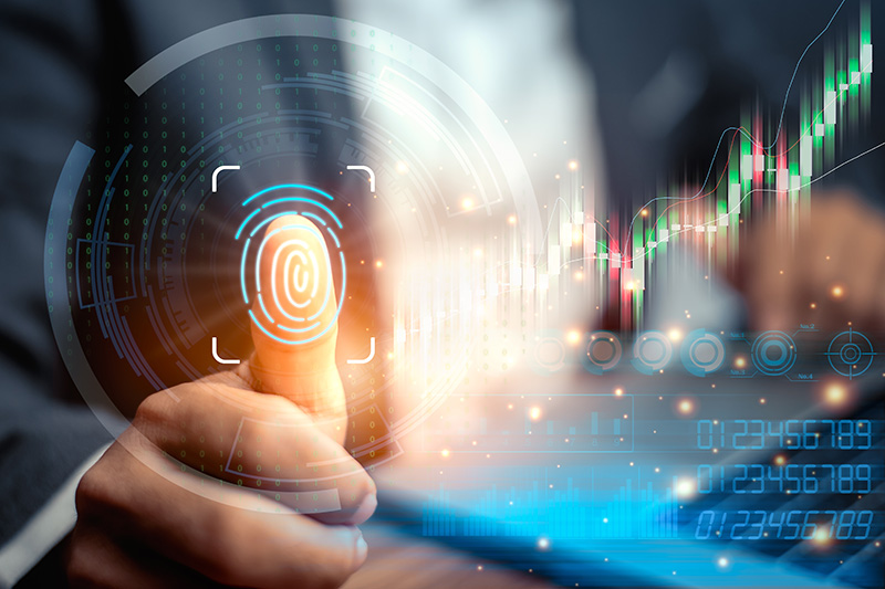 Graphic with thumb print biometric & trading charts | SV Partners